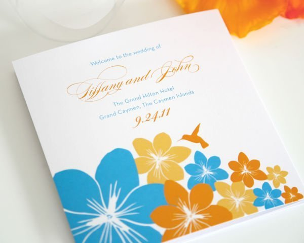 Tropical Hummingbird Wedding Programs