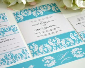 Cascading Damask Wedding Invitations
