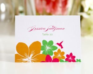 Tropical Hummingbird Place Cards