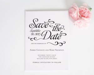 Alluring Script Save the Date Cards