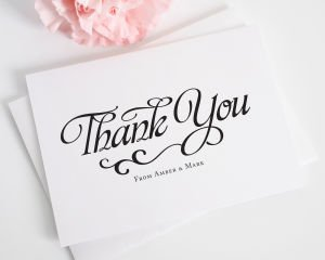 Alluring Script Thank You Cards