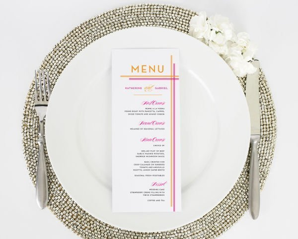 Avant Garde Stripes Wedding Menus