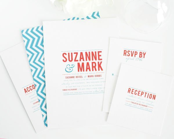 Contemporary Stack Wedding Invitations