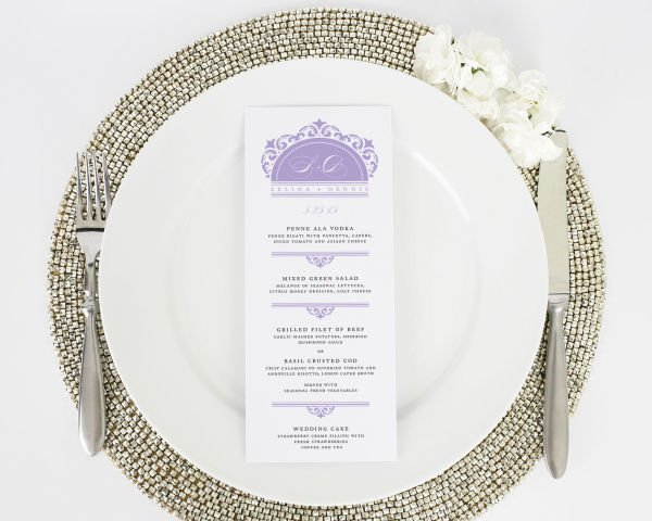 California Damask Wedding Menus