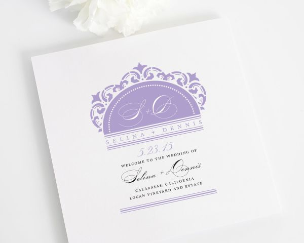 California Damask Wedding Programs