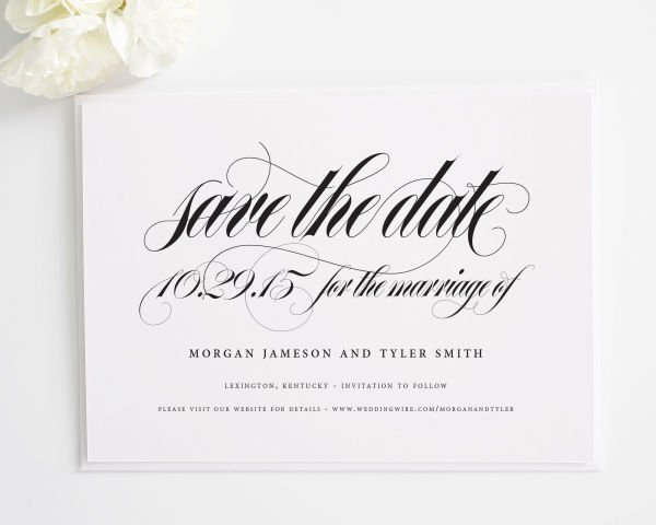Calligraphy Names Save the Date Cards