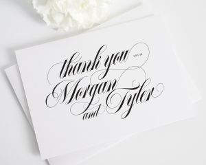 Calligraphy Names Thank You Cards