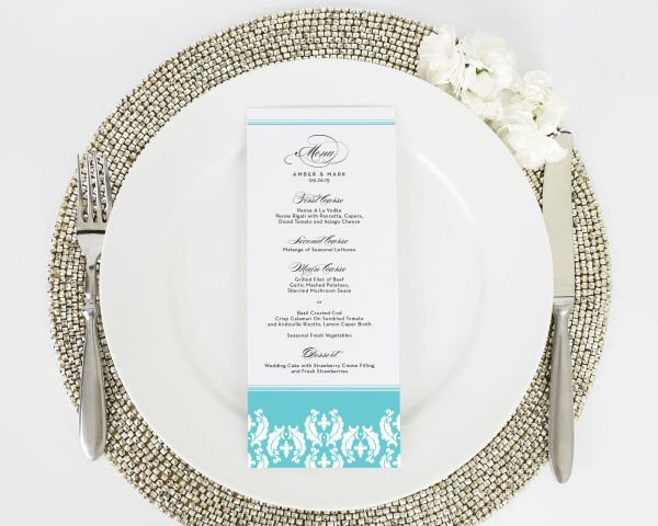 Cascading Damask Wedding Menus
