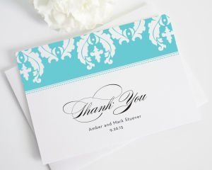 Cascading Damask Thank You Cards