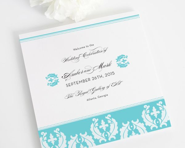 Cascading Damask Wedding Programs