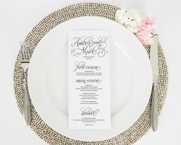 Charming Script Tea Length Wedding Menus