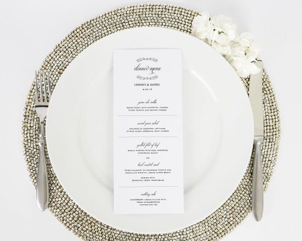 Chic Elegance Dinner Menus
