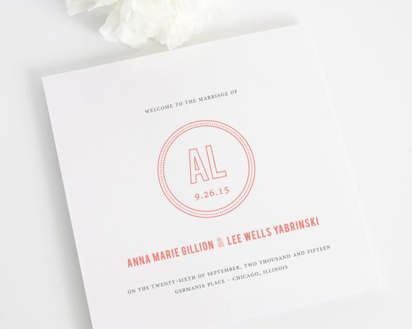Chic Monogram Wedding Programs