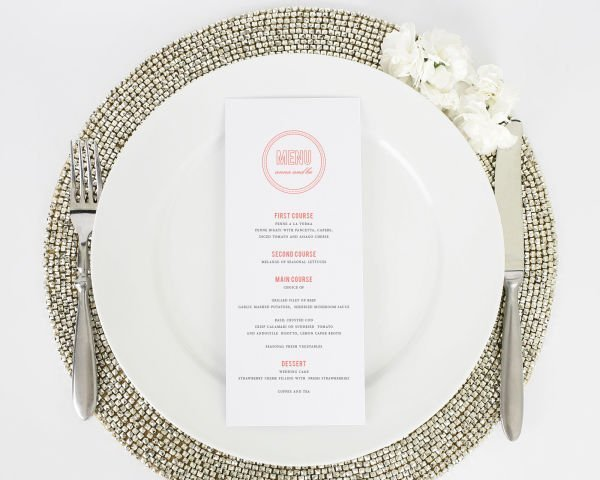 Chic Monogram Dinner Menus