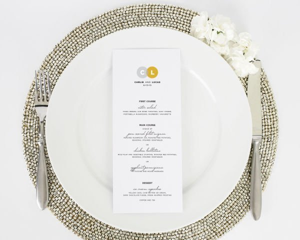 Circle Couple Dinner Menus