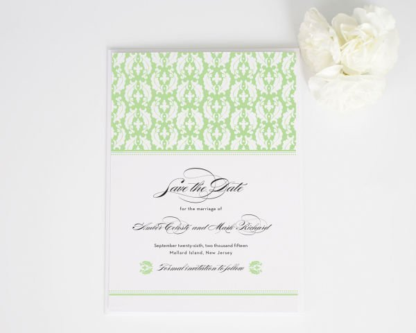 Classic Damask Save the Date Cards