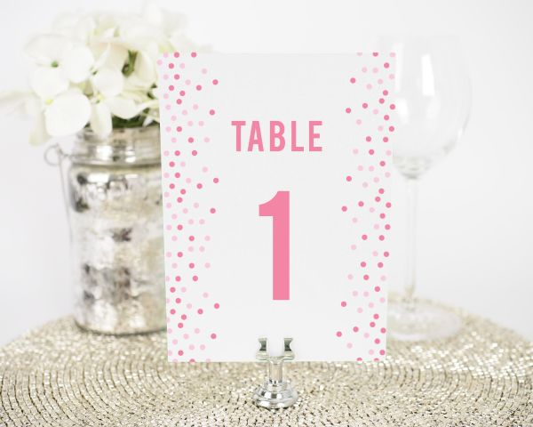 Confetti Table Numbers