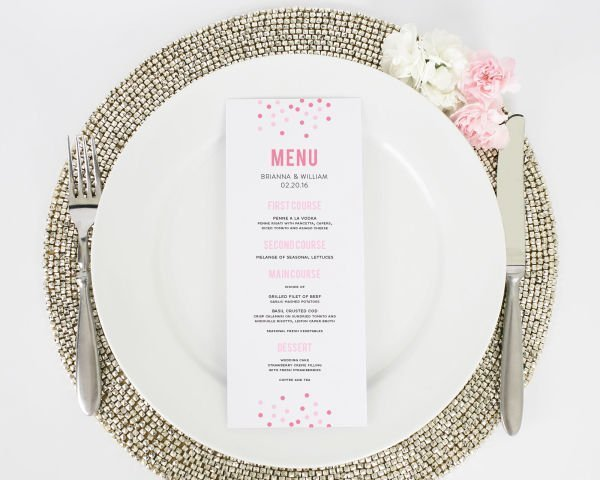 Confetti Wedding Menus