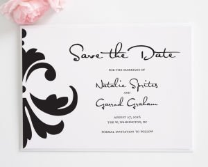 Damask Accent Save the Date Cards