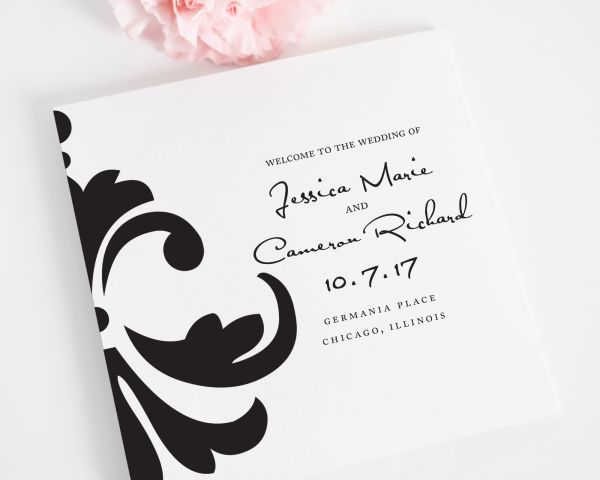 Damask Accent Wedding Ceremony Programs