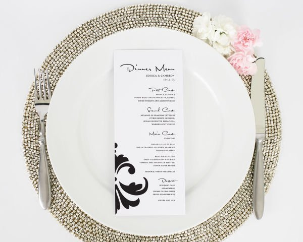Damask Accent Tea Length Wedding Menus