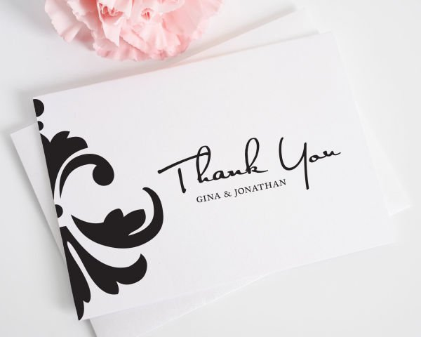 Damask Accent Thank You Cards