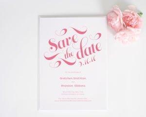 Delightful Script Save the Date Cards