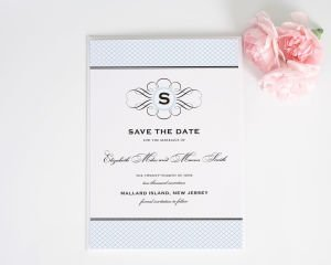 Elegance Monogram Save the Date Cards