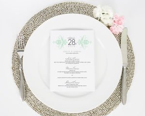 Elegant Damask Wedding Menus