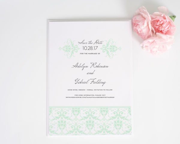 Elegant Damask Save the Date Cards