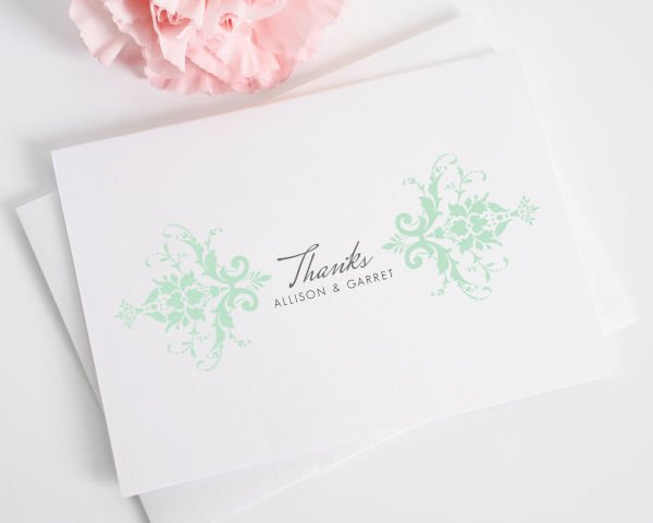 Elegant Damask Thank You Cards