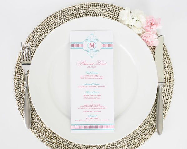 French Stripes Wedding Menus