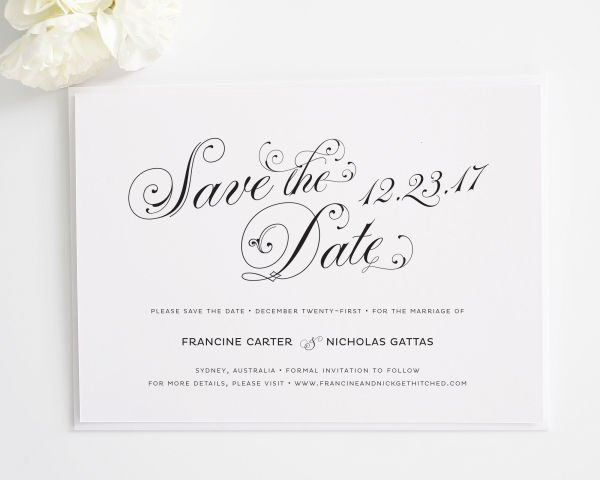 Glamorous Script Save the Date Cards