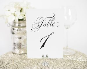 Glamorous Script Table Numbers