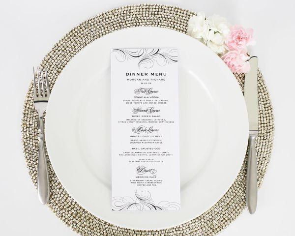 Luxe Flourish Wedding Menus