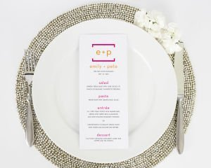 Math Love Wedding Menus