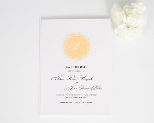 Medallion Monogram Save the Date Cards