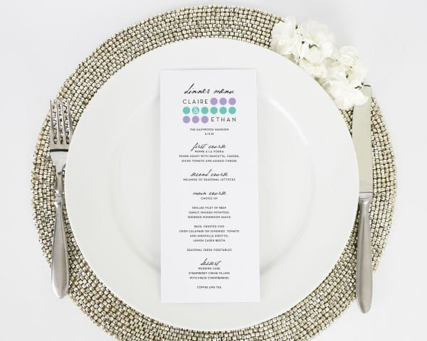 Modern Circles Wedding Menus