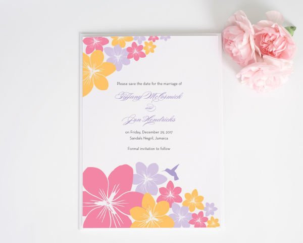 Tropical Hummingbird Save the Date Cards