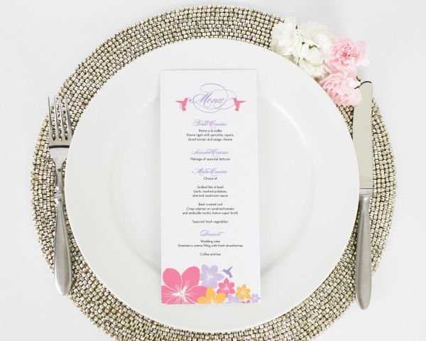 Tropical Hummingbird Destination Wedding Menus