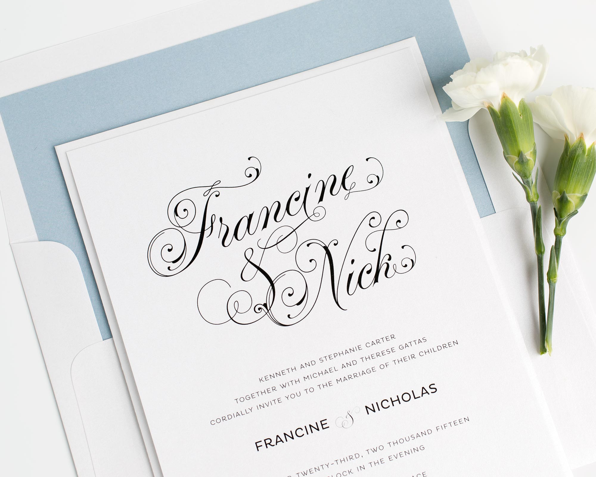 Glamorous Script Wedding Invitations