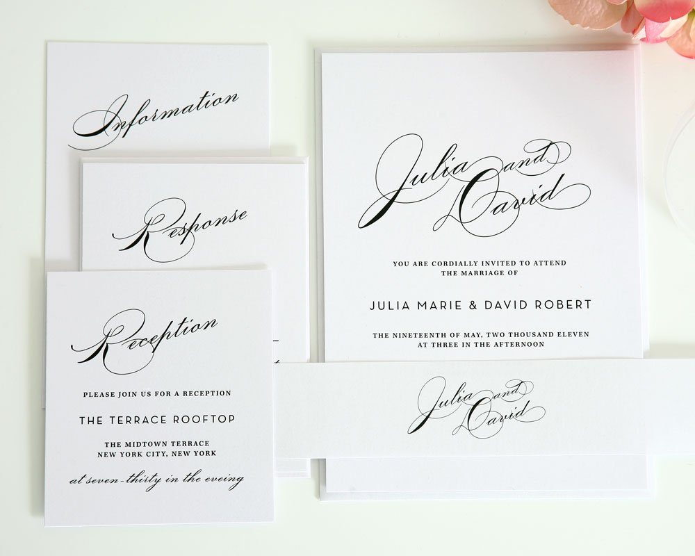 Simple wedding invitation suite with large names wedding invitations - Give home signature look elegant balustrades ...