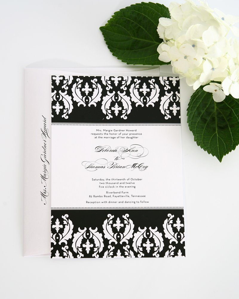 black and white damask wedding invitations - Damask Wedding Invitations