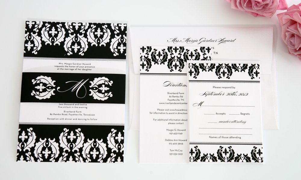 black and white wedding invitations with damask - Damask Wedding Invitations