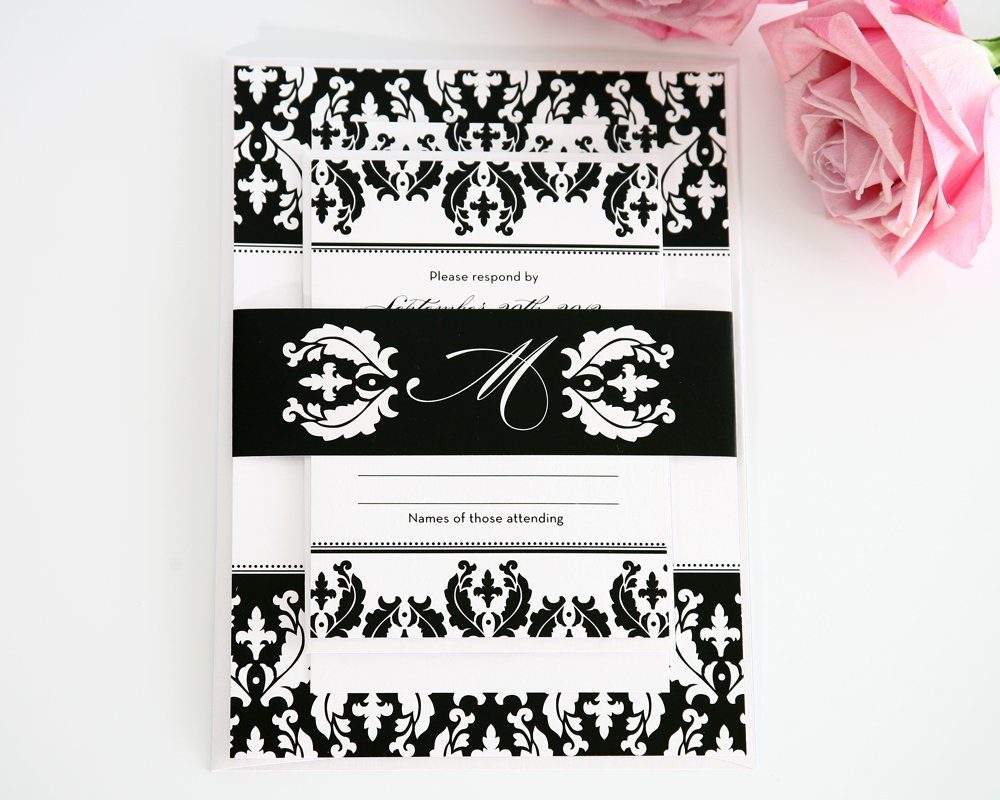 Wedding Invitation in Black and White Damask