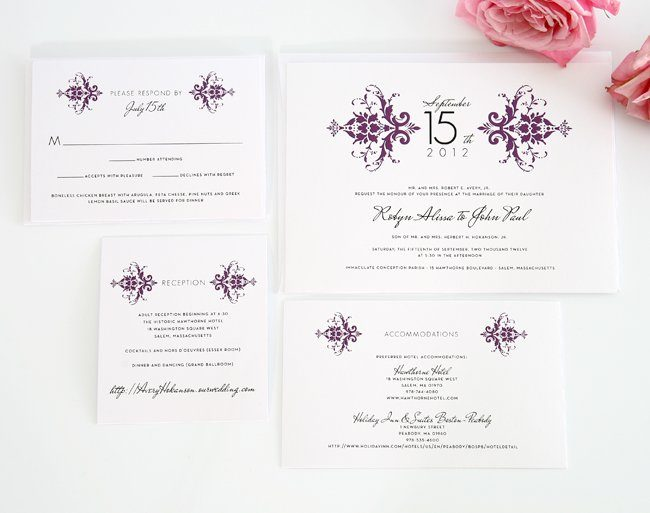 Damask wedding invitation suite in purple