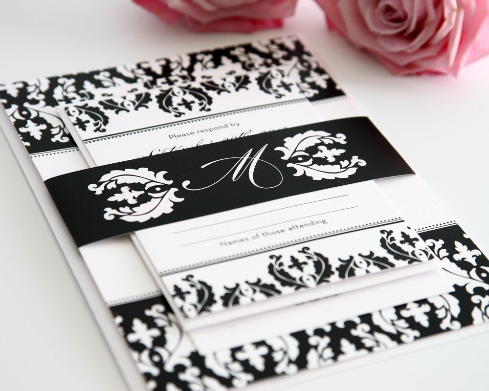 Black damask wedding invitations