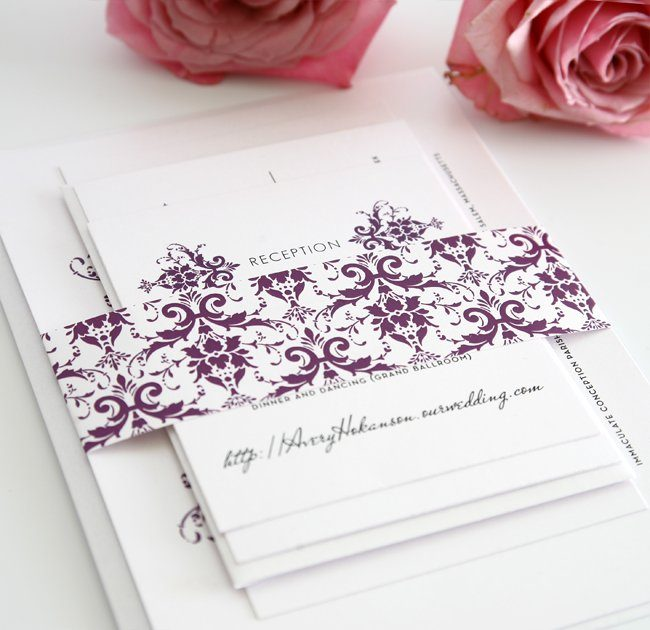 Damask Wedding Invitations in Purple