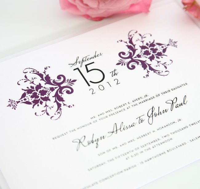 Wedding Invitation with Purple Damask