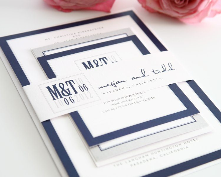 Modern Wedding Invitations in Navy Blue and Gray – Wedding ...